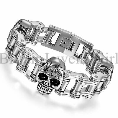 "8.7"" Gothic Biker Mens Heavy Wide Motorcycle Link Chain Bracelet with Skull*18MM"