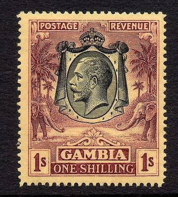 Gambia 1/- Stamp c1922-29 Mounted Mint (wmk crown CA)