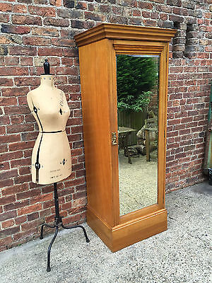 A Superb Quality Victorian Ash Wardrobe / Hall Robe With Full Length Mirror.