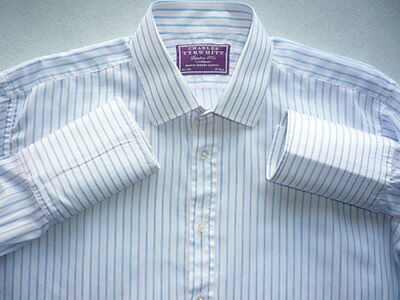 "Charles Tyrwhitt 16.5"" Purple Label 'Superfine 180's Long Sleeve Double Cuffs"