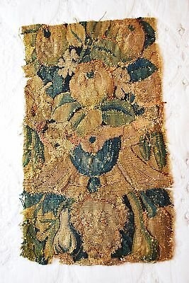 Antique Aubusson Tapestry Fragment Very Early (18th century?) Hand Stitched