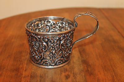 Antique Polish Russian tea cup holder Fraget Warszawie silver plated cup holder