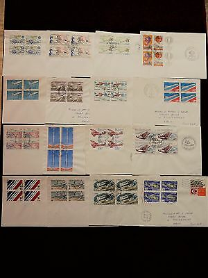 LOT 16 BLOCS DE 4 sur lettre FRANCE AVIATION AVIONS AIR FRANCE AEROPORT BALLONS