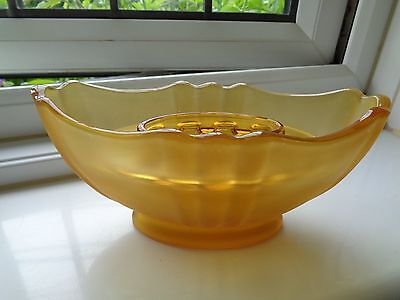 Amber frosted glass flower boat with frog