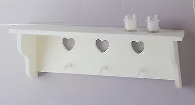 The Vintage Heart Collection Cream Heart Shelf With Hooks-