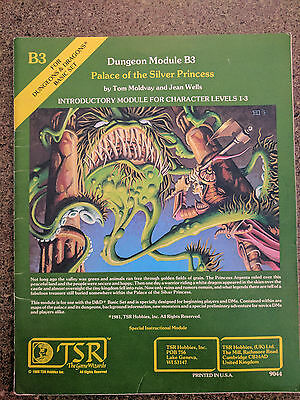 Dungeon Module B3 Palace of the Silver Princess TSR 9044 Dungeons & Dragons 1980