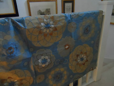 Embroidered & Printed Silk Fabric Remnant ~ Blue / beige + embroidery ~ 1.70m