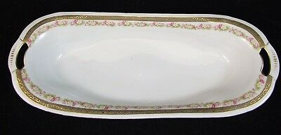 "Royal Bayreuth BAVARIA Celery Vanity Dish 12.5"" GOLD ENCRUSTED BAND Florals MINT"