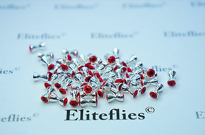 50 x Elite Silver Red Glo Dumbell Eyes  3.2mm , fly fishing trout fishing