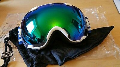 Dirty Dog Afterburner 0.5 White Snow Ski Goggles - Green Fusion Lens 54177