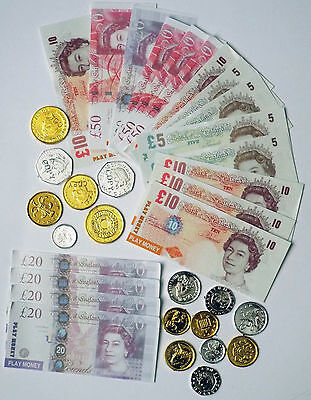 Kids Novelty Toy Play Fake Money Coins & Bank Notes Pounds Sterling - Party Bag