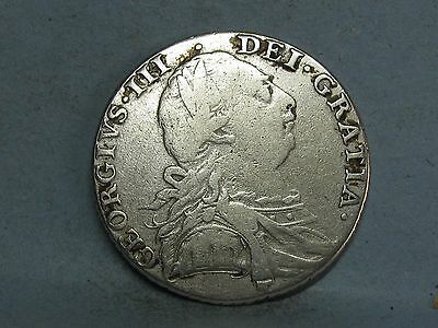 George Iii  Silver Shilling Coin Dated 1787 (2)