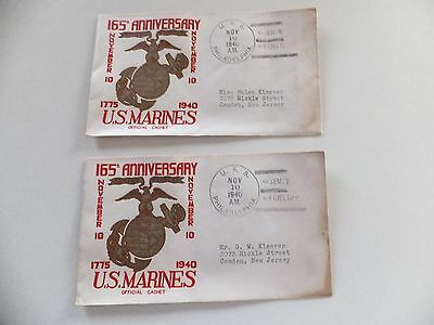 """Wwii """"(2) U. S. Marines 165Th Anniv. Commemorative First Day Cover (1775-1940)"""