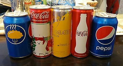 Set of 5 Empty Coca-Cola,Pepsi,Red Bull Cans 250/330ml LIM.ED.VERY RARE UKRAINE!
