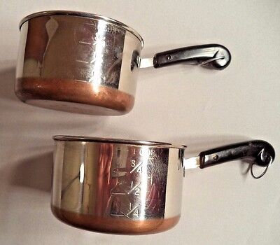 2 Revere Ware 1801 Measuring Cups Toy Mini Sauce Pans Pots Copper Bottom Vtg lot