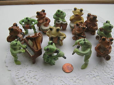 Orchestre Animal Grenouille Musique Miniature Porcelaine Piano Frog Music Band