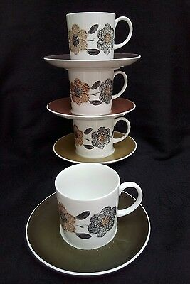 Vintage Susie Cooper China, 4 Coffee Cups And Saucers, So On Trend!!!