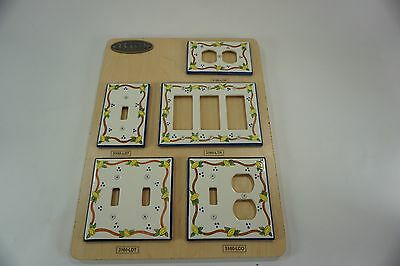 White Ceramic Switch Plate Outlet Covers ATLAS 5 Pcs. NOS Lemons Yellow Blue Rop
