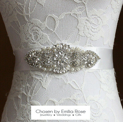 Bridal Wedding Dress Belt Sash Pearl & Crystal Rhinestone Ivory Ribbon Tie Thin
