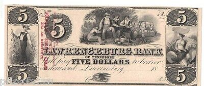"""Lawrenceburg Bank of Tennessee $5- """"Payable in Confederate Notes..."""""""