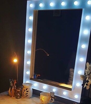 Hollywood 24 Bright LED Bulb Gloss White Finish Make Up Mirror 80 X 60 BN
