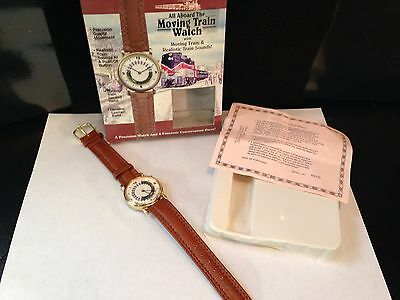 Great American Moving Train Watch Genuine Leather Band,with Lifelike Sounds