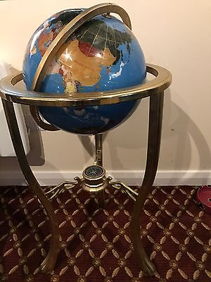 """Beautiful precious gemstone world globe with compass on stand 33"""" high in total"""