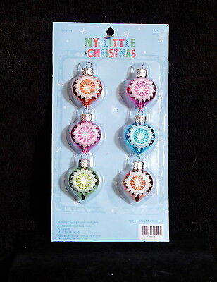 Miniature Brightly Colored Indent Christmas Ball  Feather Tree Ornaments - NIP