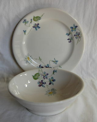 """Violets and Daisies, Syracuse China C B & Q 6""""Wide X 2""""Tall Footed Bowl & Plate"""