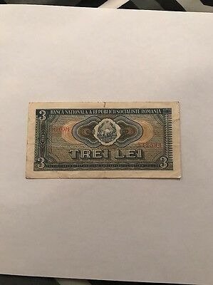 Romania 3 Lei 1966 Circulated Banknote G0001