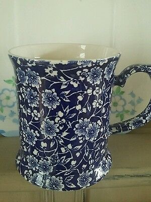 Vintage Queens Pottery MUG Blue Calico Blue & White *impressed Made in England*