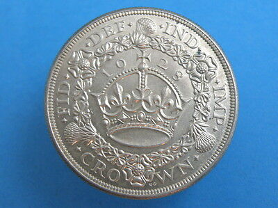 1928 King George V SILVER PROOF 'WREATH' CROWN COIN - Scarce High Grade Coin