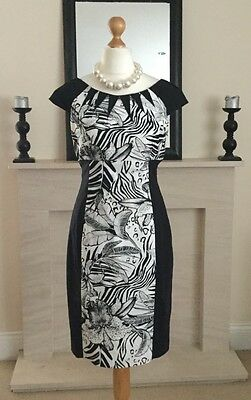 Stunning Karen Millen Black & White Bodycon Dress Size 14 Wedding Races