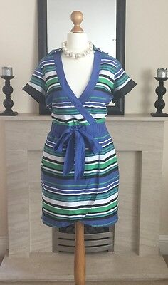 Gorgeous Karen Millen Striped Wrap Effect Dress Size 14