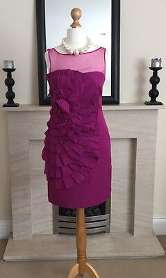 Stunning Monsoon Purple Ruffle Dress Size 10