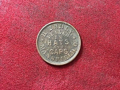 Civil War Token H. Endly Dealer In Hats And Caps Mansfield Ohio