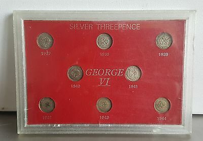 George VI Silver Threepence set of 8 sealed in case 1937 - 1944