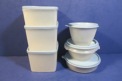 Tupperware Storage Containers With Blue Lids - Set of 6