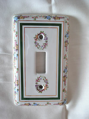 Limoges Porcelain Floral Single Toggle Light Switch Cover Plate 3 Gold Trims NOS