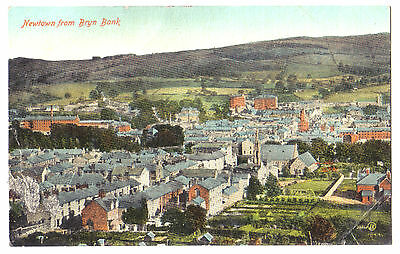 Newtown FROM BRYN BANK Powys WELSH WALES OLD POSTCARD 1920