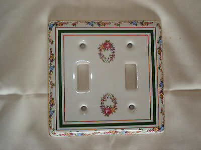 Limoges Porcelain Floral Double Toggle Light Switch Cover Plate 3 Gold Trims NOS