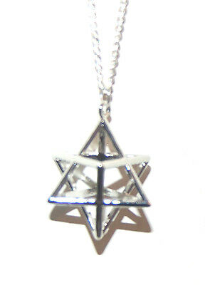 Powerful Silver Plated MERKABAH MERKABA CHARIOT Grid Pendant Boxed Gift Chain