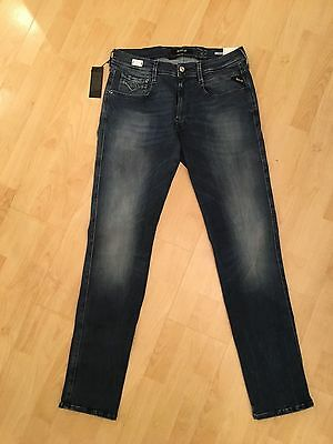 """Mens Replay Jeans Hyperflex """"anbass"""" Tapered Fit Size 32 New With Tags"""
