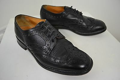VINTAGE 1960's HIGH QUALITY BROGUES ENGLISH MADE BLACK LACE UP SHOES SIZE 8.5