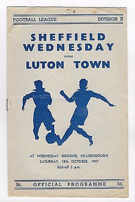 Sheffield Wednesday vs Luton Town 18th October 1947 FOOTBALL PROGRAMME