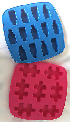Ikea Silicone Ice-Cube/chocolate Moulds. Bottles & Jigsaw Shapes.