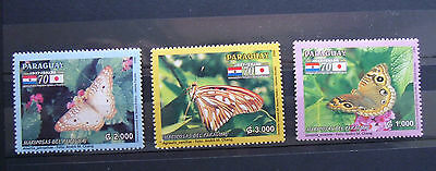 PARAGUAY 2006 Butterflies. Fauna Japan 3v set  MNH. set Unused rare stamps