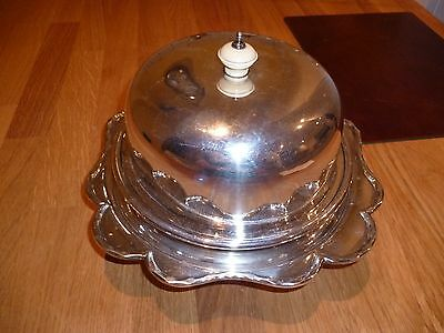 "SILVER Plated  7"" MUFFIN DISH & Server Tray ~4 pieces by George Wish ~ c1900"