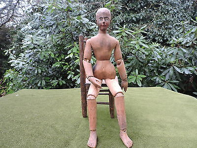 ANTIQUE 19th C  ARTICULATED WOODEN ARTISTS MODEL / MANNEQUIN / LAY FIGURE DOLL