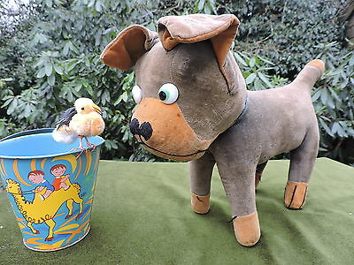 Large Comical Vintage Velvet Bulldog With Googly Eyes Old Character Toy Dog